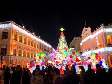 マカオ世界遺産セナド広場のクリスマスライトアップ2019
